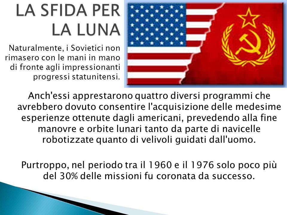 LA SFIDA PER LA LUNA Naturalmente, i Sovietici non rimasero con le mani in mano di fronte agli impressionanti progressi statunitensi.