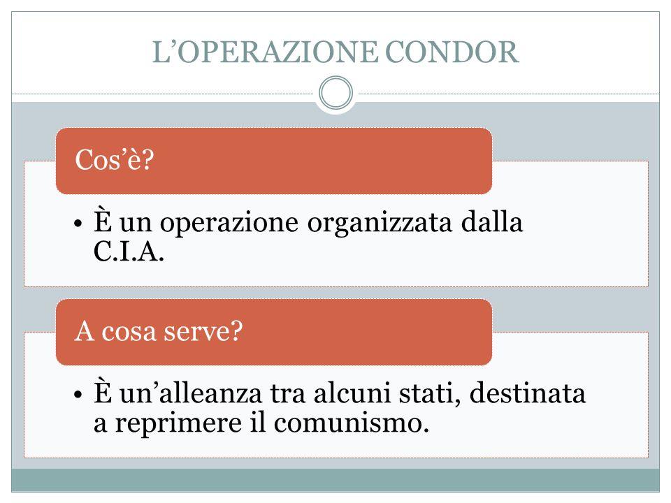 L'OPERAZIONE CONDOR Cos'è È un operazione organizzata dalla C.I.A.