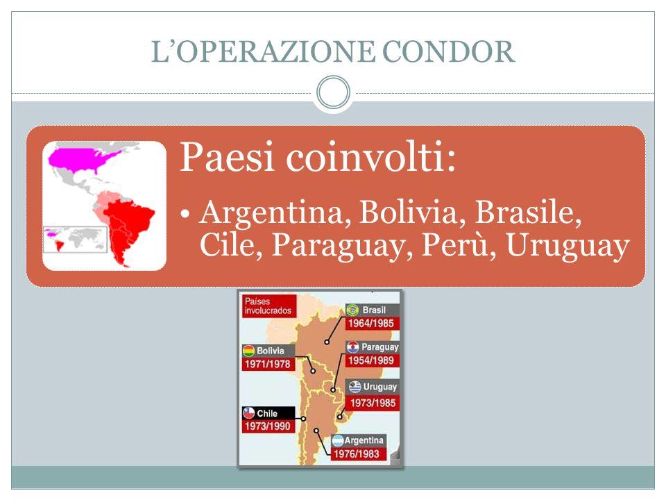 L'OPERAZIONE CONDOR Paesi coinvolti: Argentina, Bolivia, Brasile, Cile, Paraguay, Perù, Uruguay