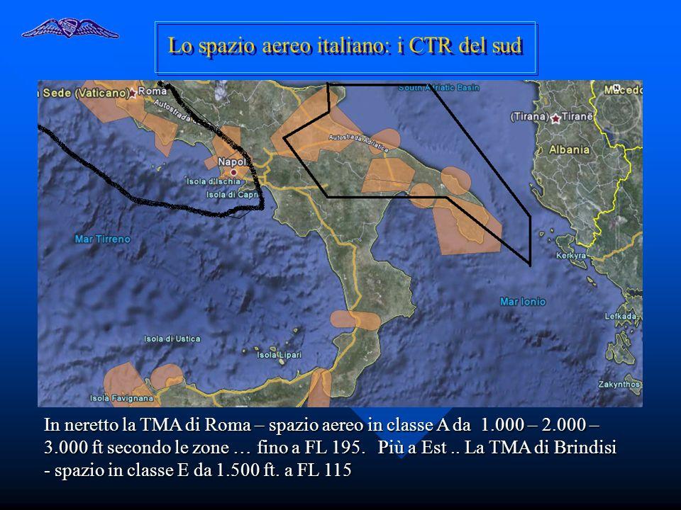 Lo spazio aereo italiano: i CTR del sud