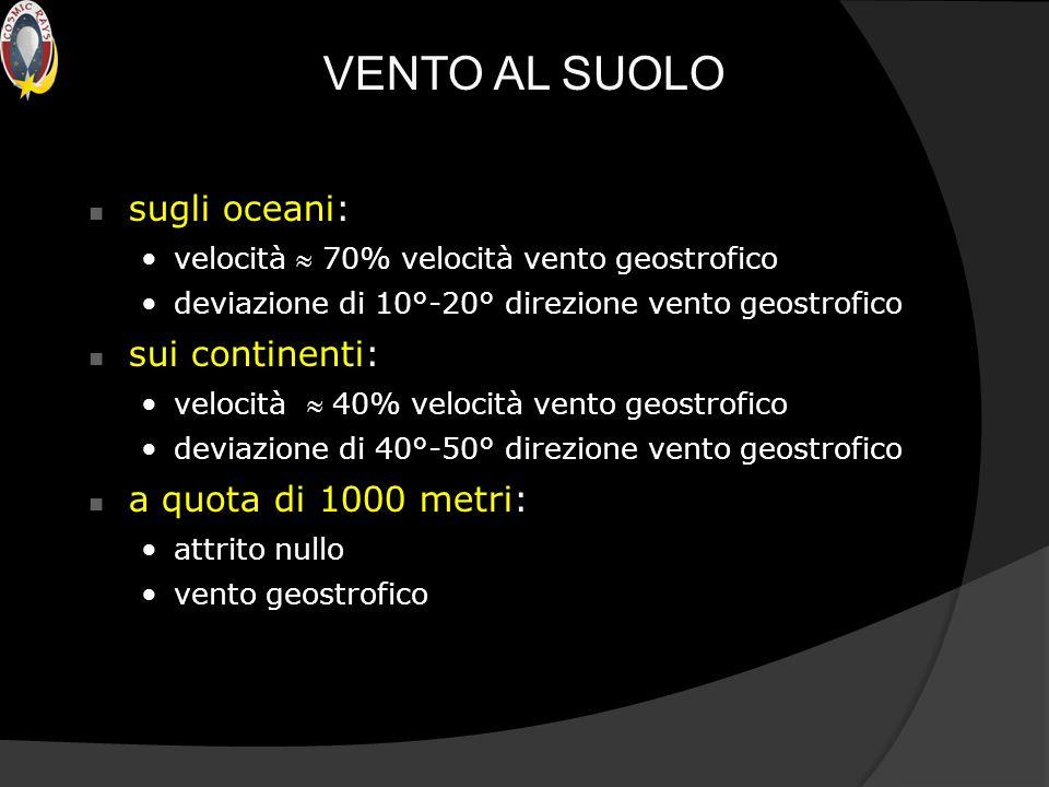 VENTO AL SUOLO sugli oceani: sui continenti: a quota di 1000 metri: