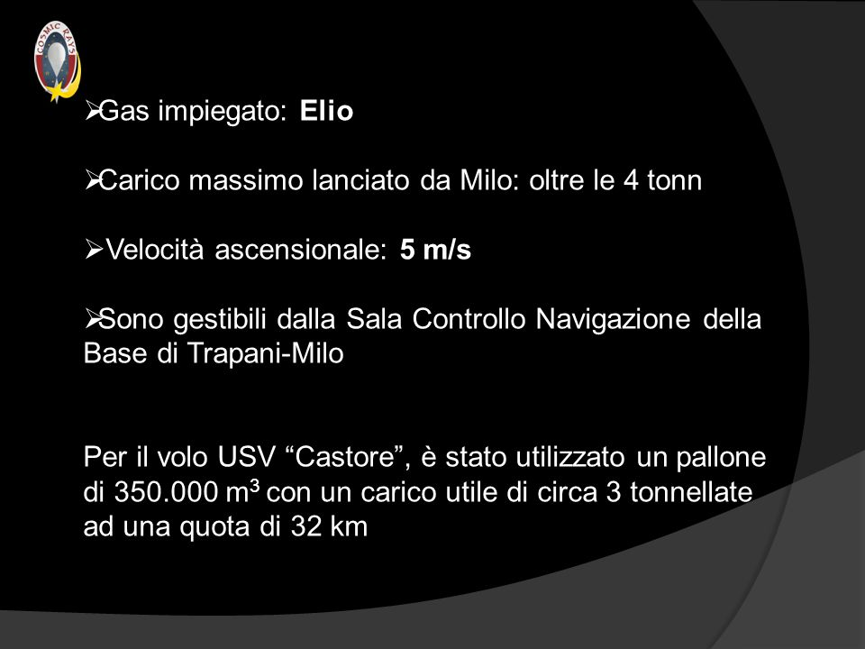 Gas impiegato: Elio Carico massimo lanciato da Milo: oltre le 4 tonn. Velocità ascensionale: 5 m/s.