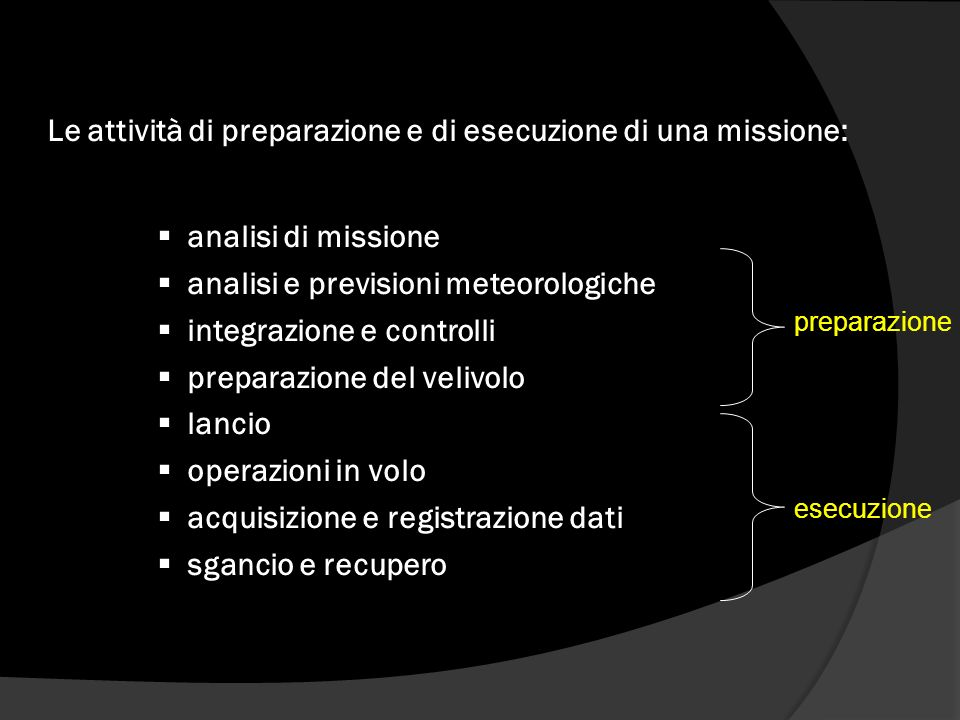 Le attività di preparazione e di esecuzione di una missione: