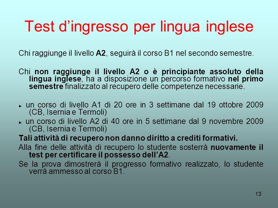 Test d'ingresso per lingua inglese