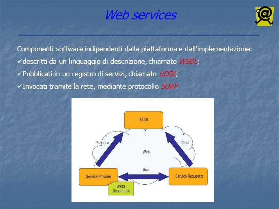 Web services Componenti software indipendenti dalla piattaforma e dall'implementazione: descritti da un linguaggio di descrizione, chiamato WSDL;