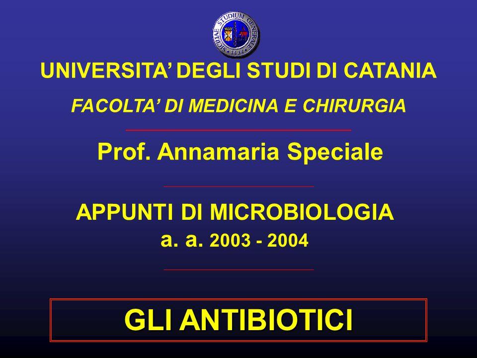 GLI ANTIBIOTICI Prof. Annamaria Speciale