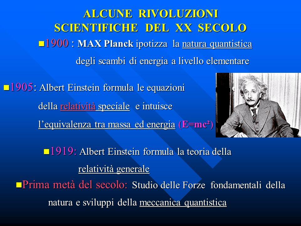 ALCUNE RIVOLUZIONI SCIENTIFICHE DEL XX SECOLO