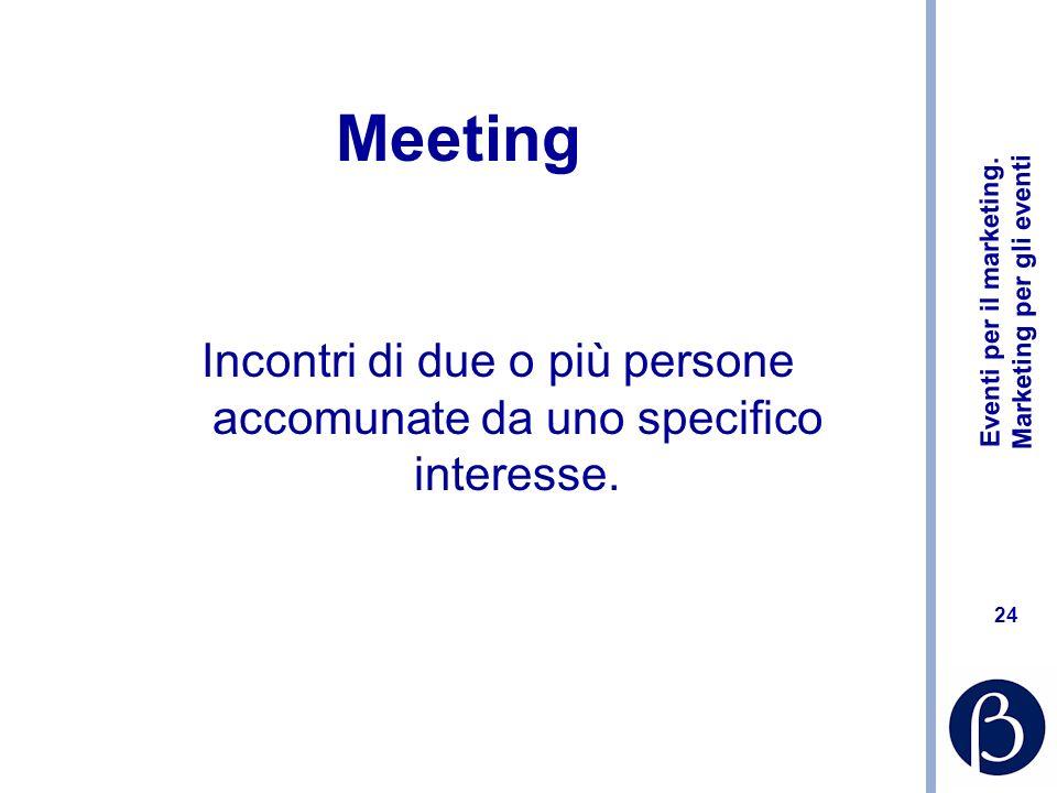 Incontri di due o più persone accomunate da uno specifico interesse.