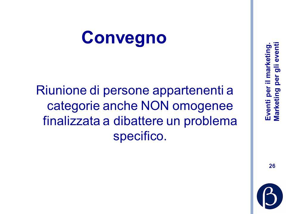 Convegno Riunione di persone appartenenti a categorie anche NON omogenee finalizzata a dibattere un problema specifico.