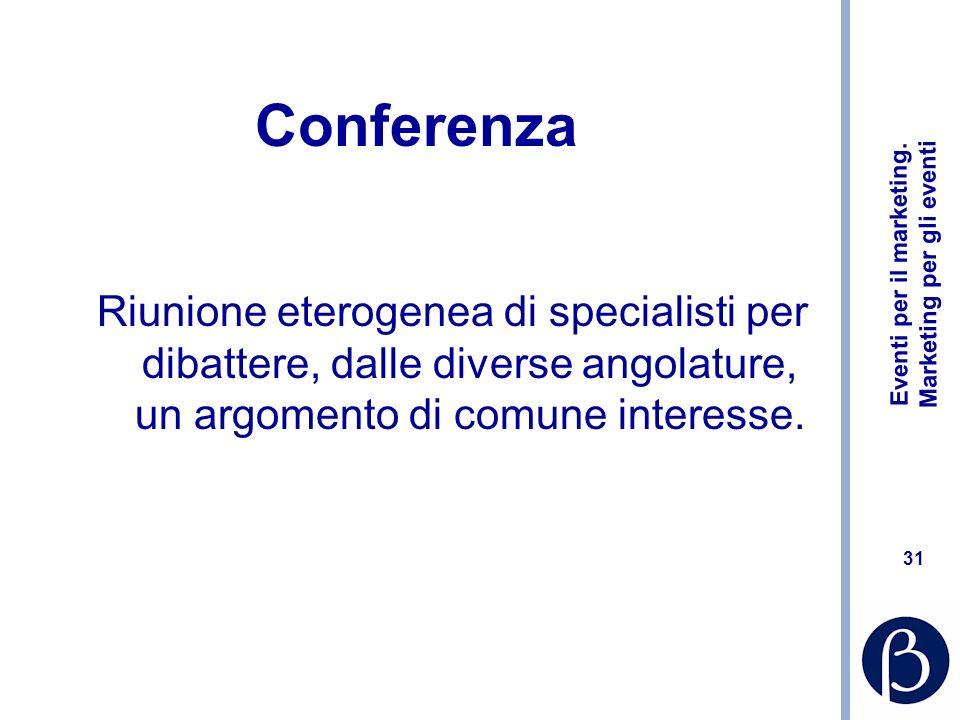 Conferenza Riunione eterogenea di specialisti per dibattere, dalle diverse angolature, un argomento di comune interesse.