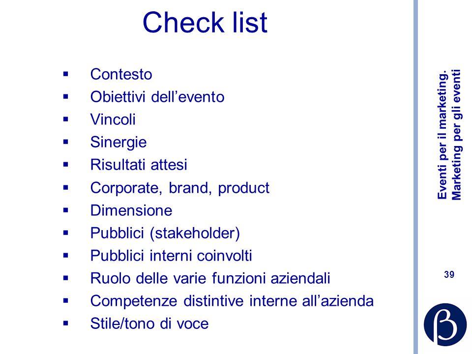Check list Contesto Obiettivi dell'evento Vincoli Sinergie