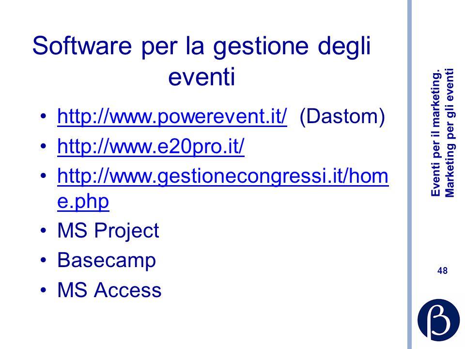Software per la gestione degli eventi