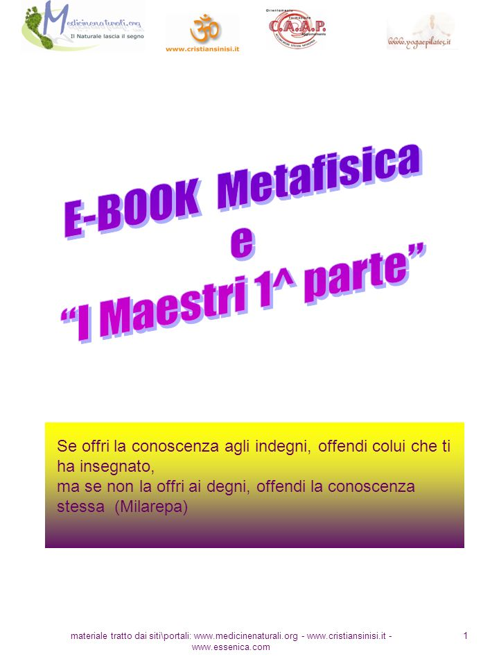 E-BOOK Metafisica e I Maestri 1^ parte