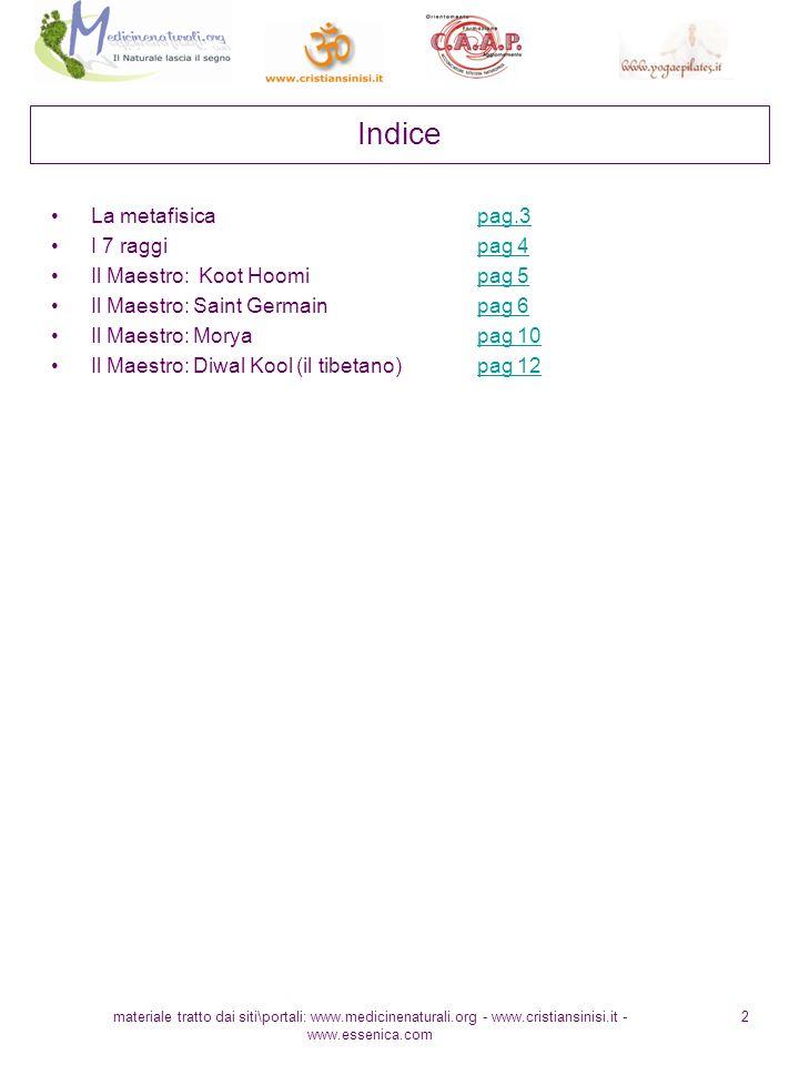 Indice La metafisica pag.3 I 7 raggi pag 4