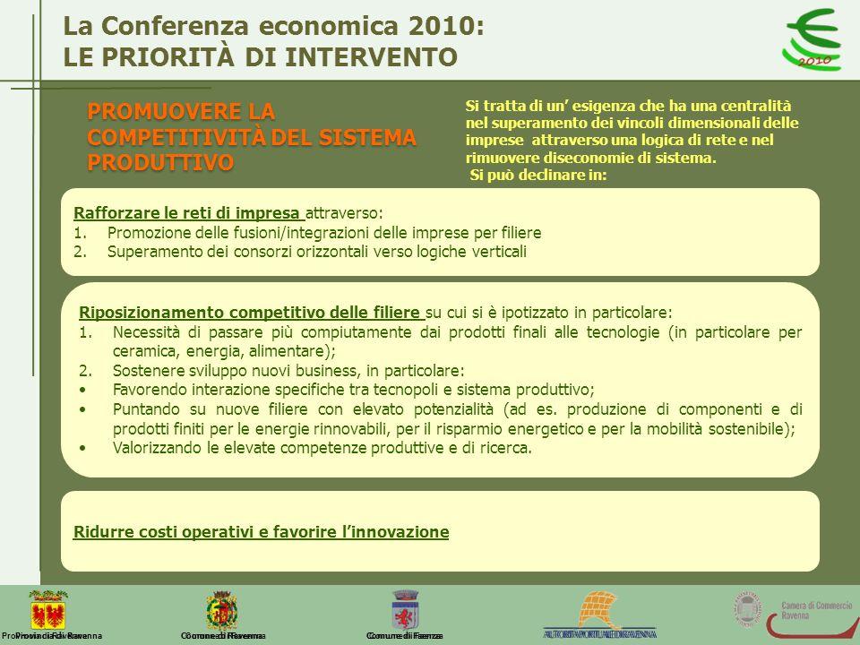 La Conferenza economica 2010: LE PRIORITÀ DI INTERVENTO