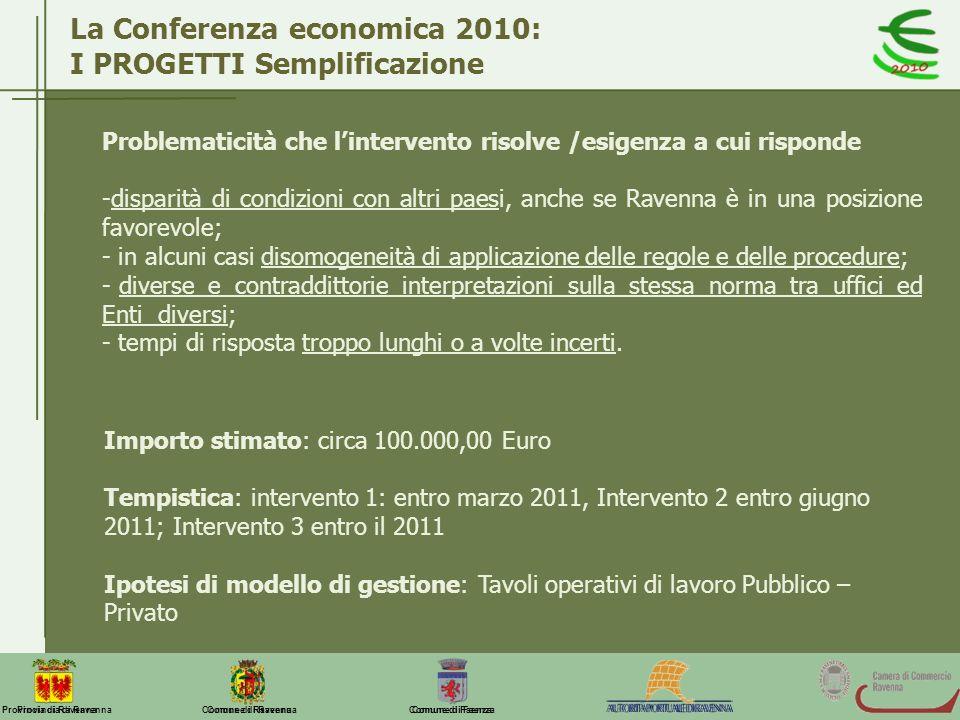 La Conferenza economica 2010: I PROGETTI Semplificazione