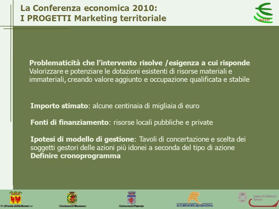 La Conferenza economica 2010: I PROGETTI Marketing territoriale