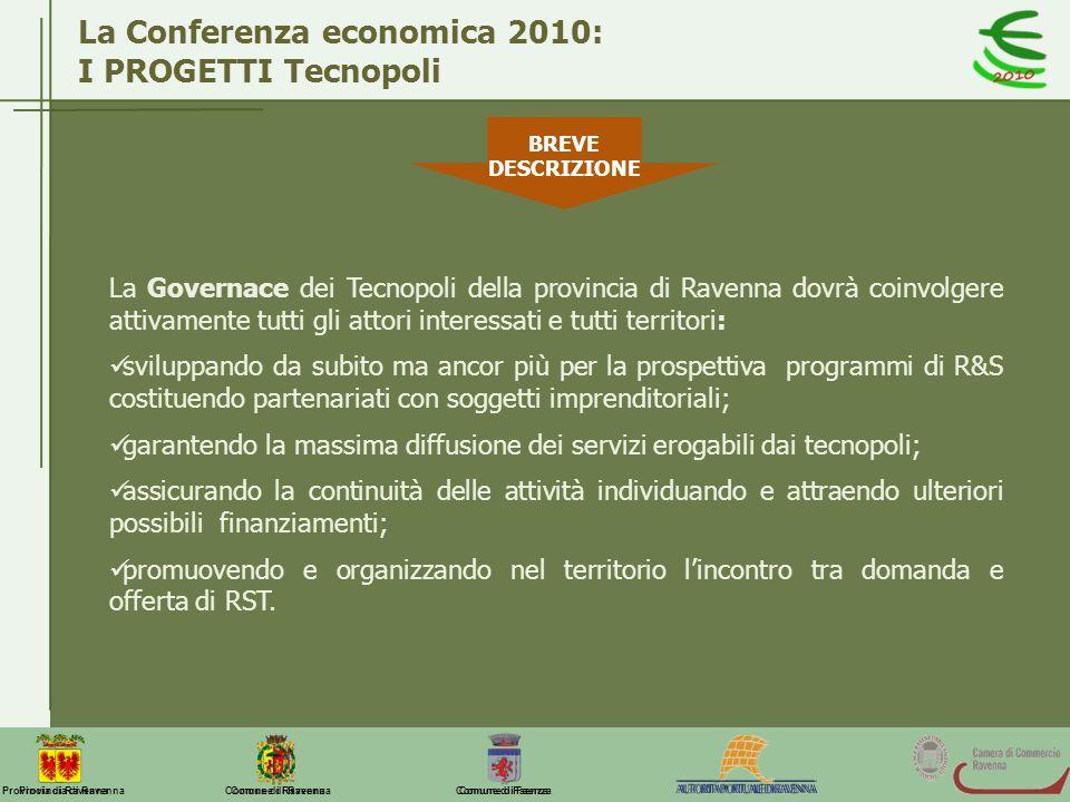 La Conferenza economica 2010: I PROGETTI Tecnopoli