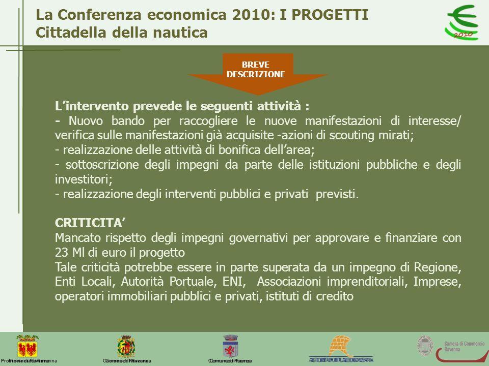 La Conferenza economica 2010: I PROGETTI Cittadella della nautica