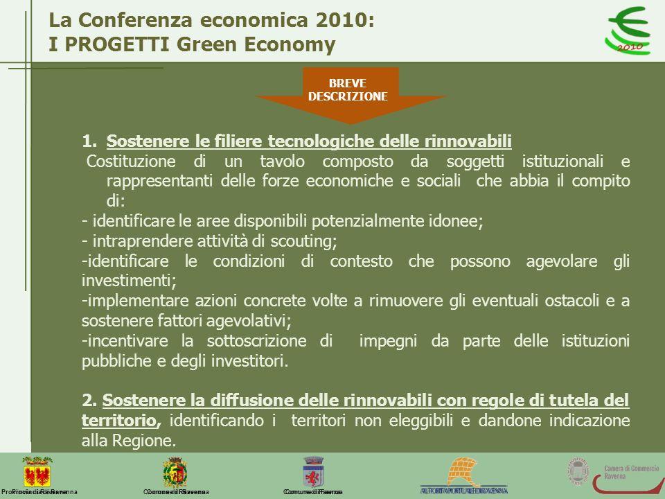 La Conferenza economica 2010: I PROGETTI Green Economy