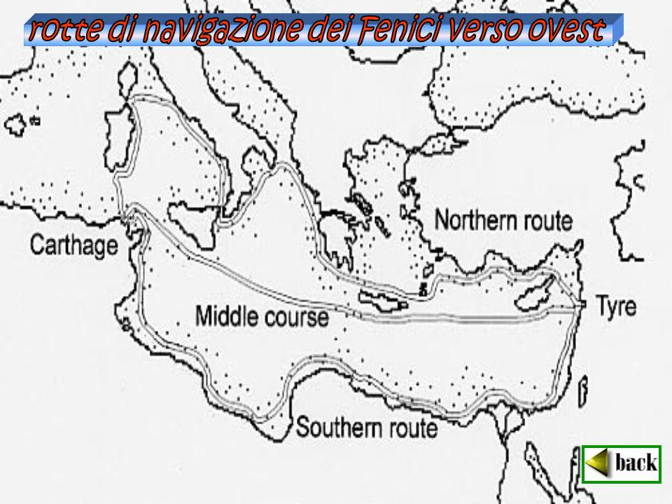 rotte di navigazione dei Fenici verso ovest
