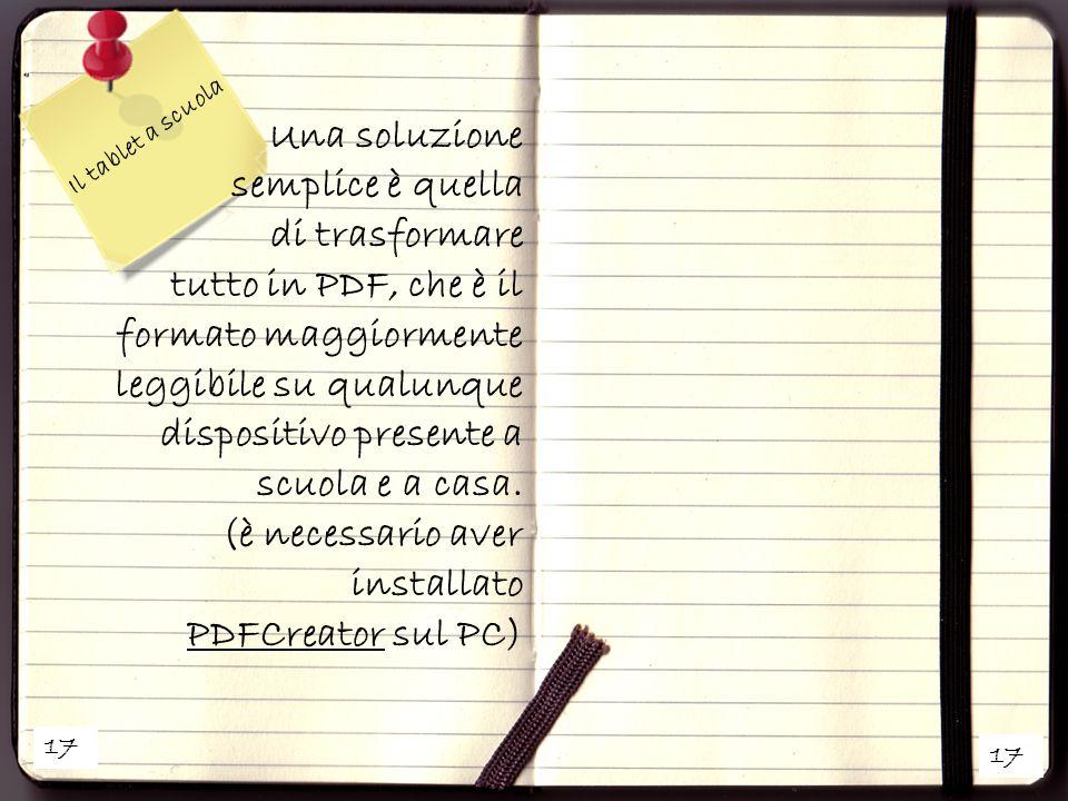tutto in PDF, che è il formato maggiormente