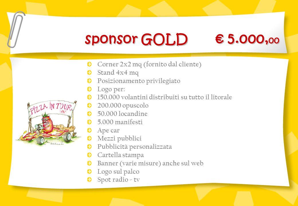 sponsor GOLD € 5.000,00 Corner 2x2 mq (fornito dal cliente)