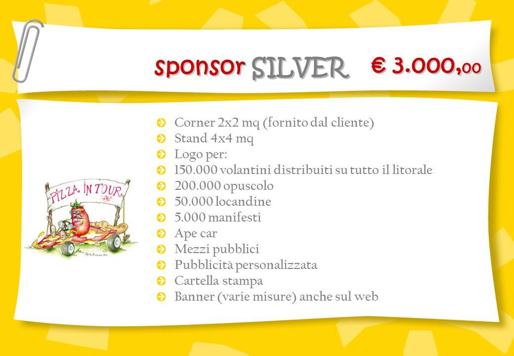€ 3.000,00 sponsor SILVER Corner 2x2 mq (fornito dal cliente)