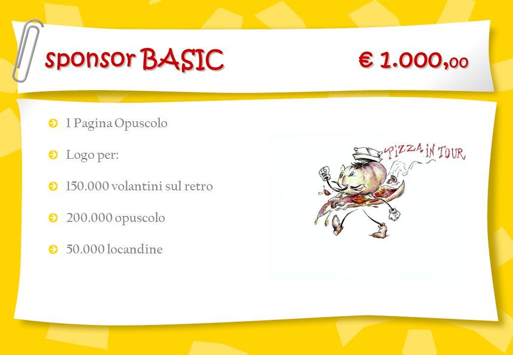 sponsor BASIC € 1.000,00 1 Pagina Opuscolo Logo per: