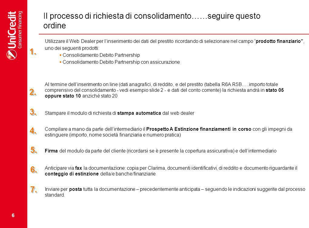Il processo di richiesta di consolidamento……seguire questo ordine