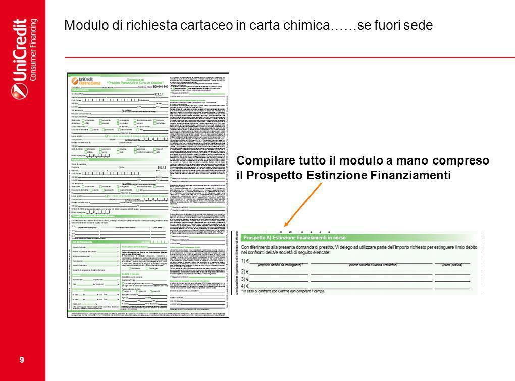 Modulo di richiesta cartaceo in carta chimica……se fuori sede