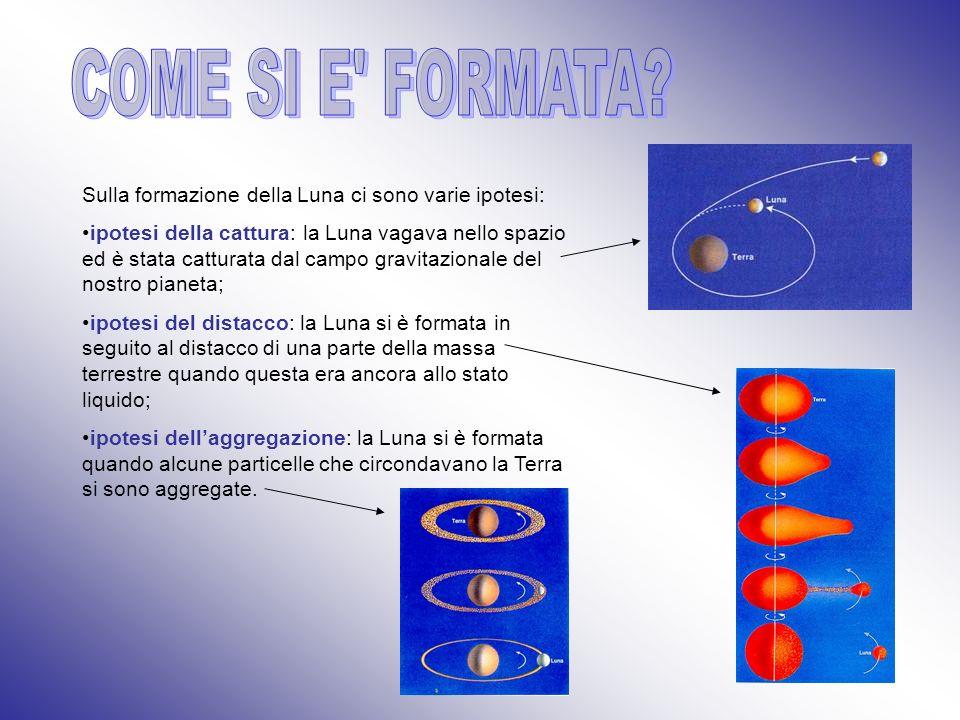 COME SI E FORMATA Sulla formazione della Luna ci sono varie ipotesi:
