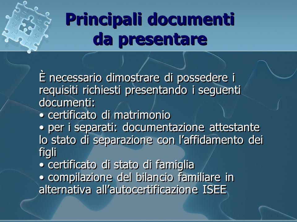 Principali documenti da presentare