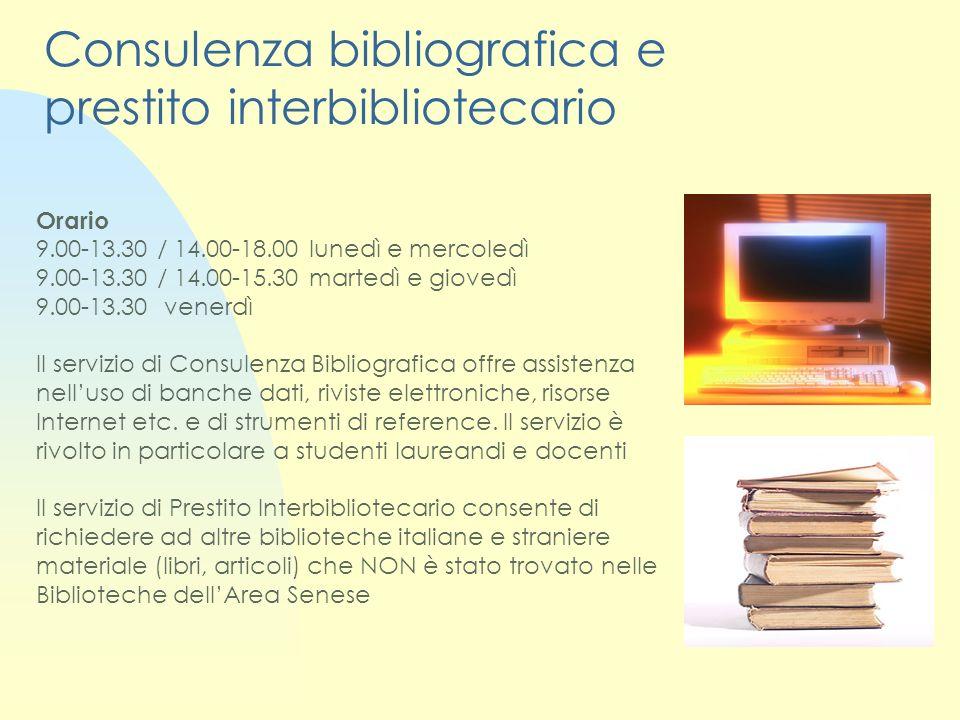Consulenza bibliografica e prestito interbibliotecario