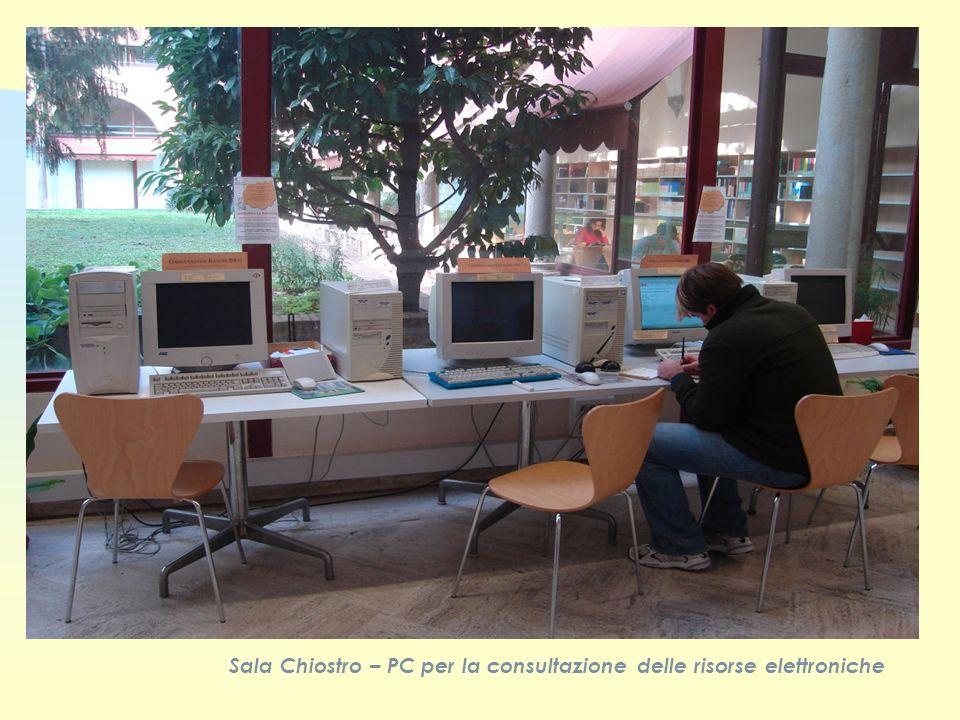 Sala Chiostro – PC per la consultazione delle risorse elettroniche