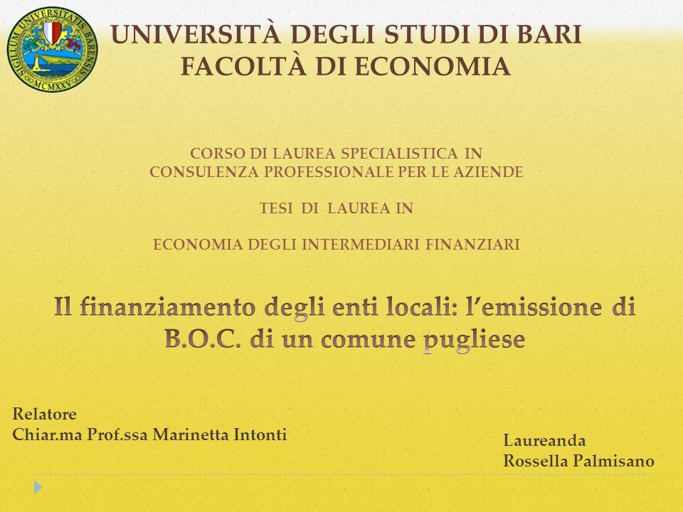 UNIVERSITÀ DEGLI STUDI DI BARI FACOLTÀ DI ECONOMIA