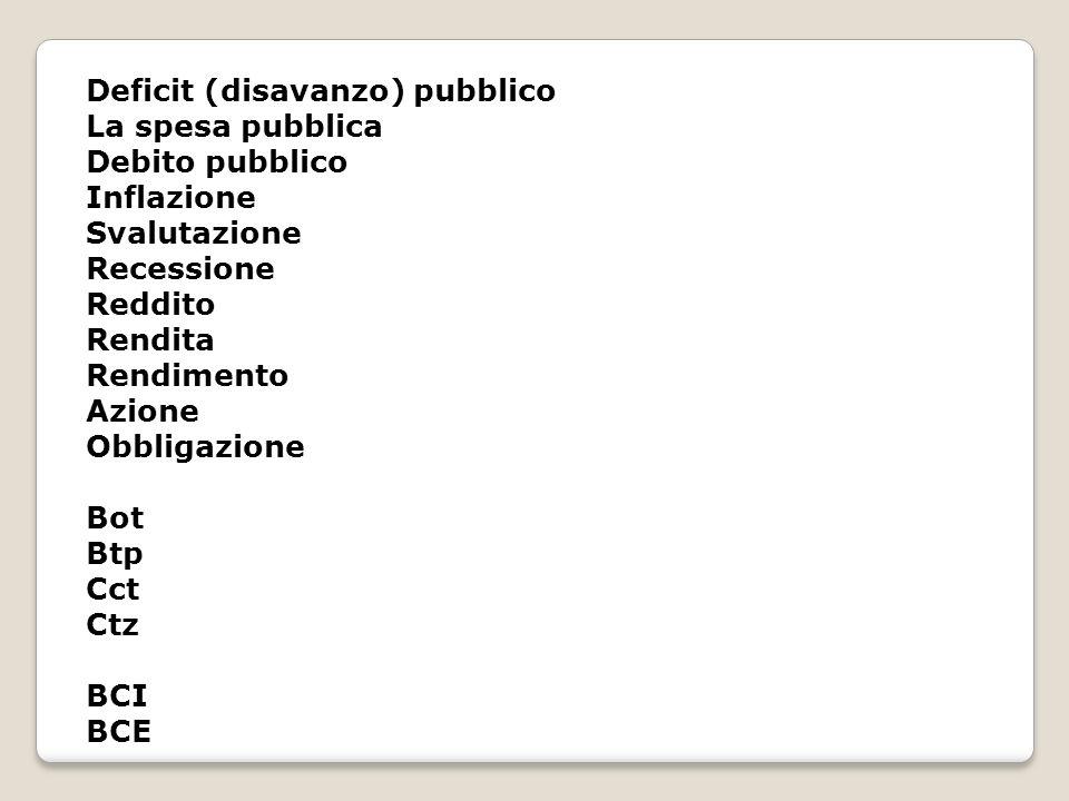 Deficit (disavanzo) pubblico