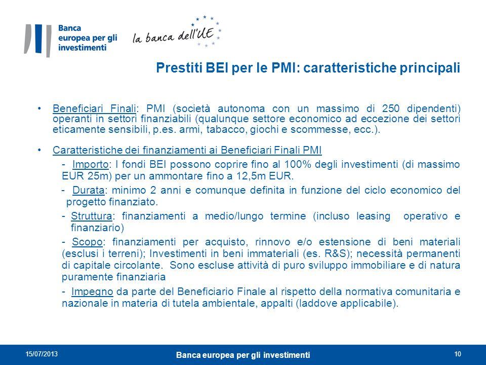 Prestiti BEI per le PMI: caratteristiche principali