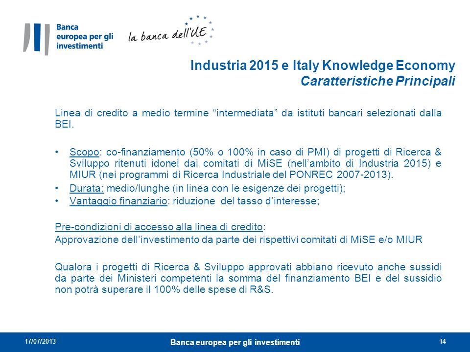 Industria 2015 e Italy Knowledge Economy Caratteristiche Principali