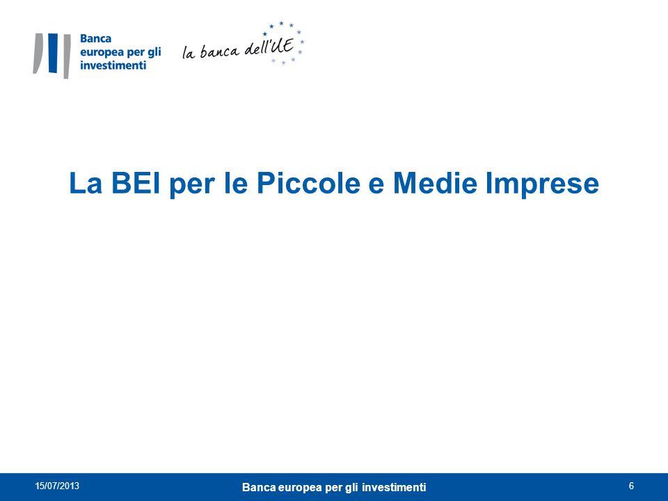 La BEI per le Piccole e Medie Imprese