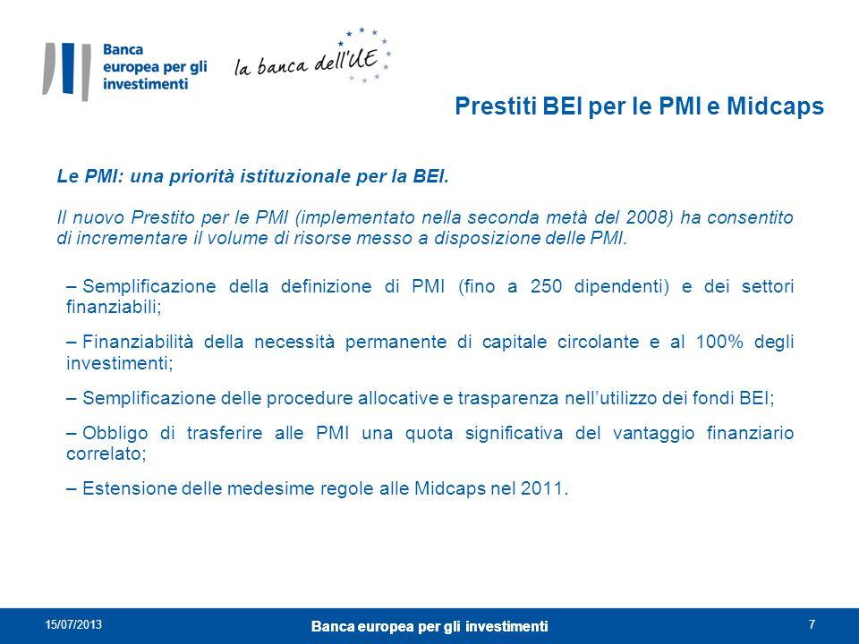 Prestiti BEI per le PMI e Midcaps