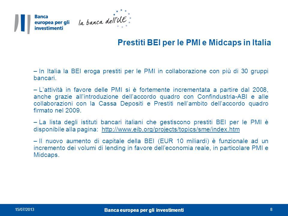 Prestiti BEI per le PMI e Midcaps in Italia