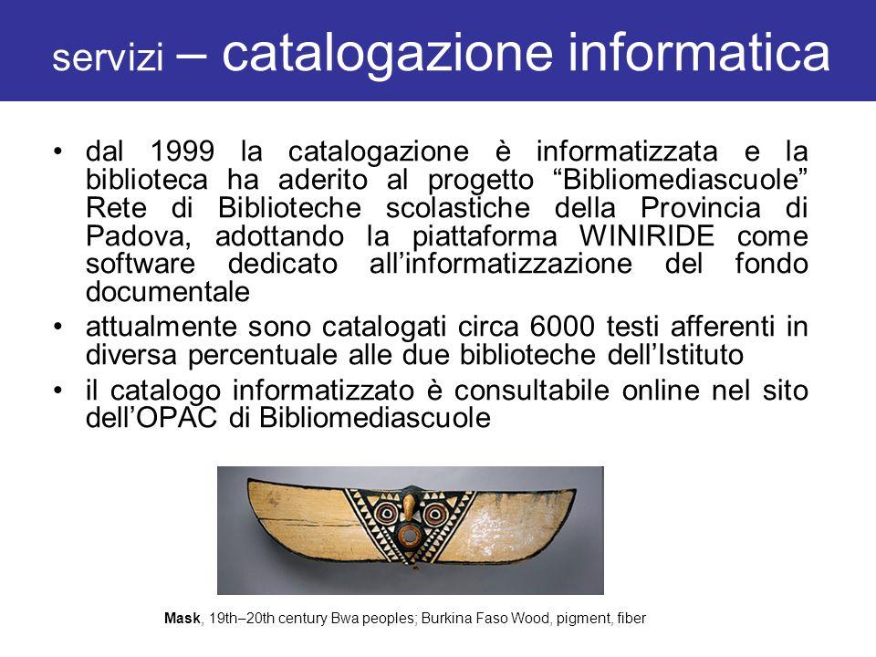 servizi – catalogazione informatica