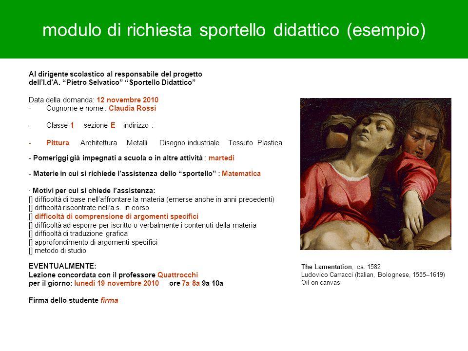 modulo di richiesta sportello didattico (esempio)