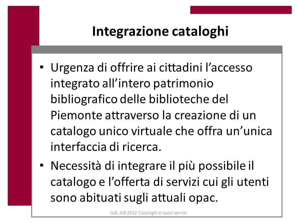 Integrazione cataloghi