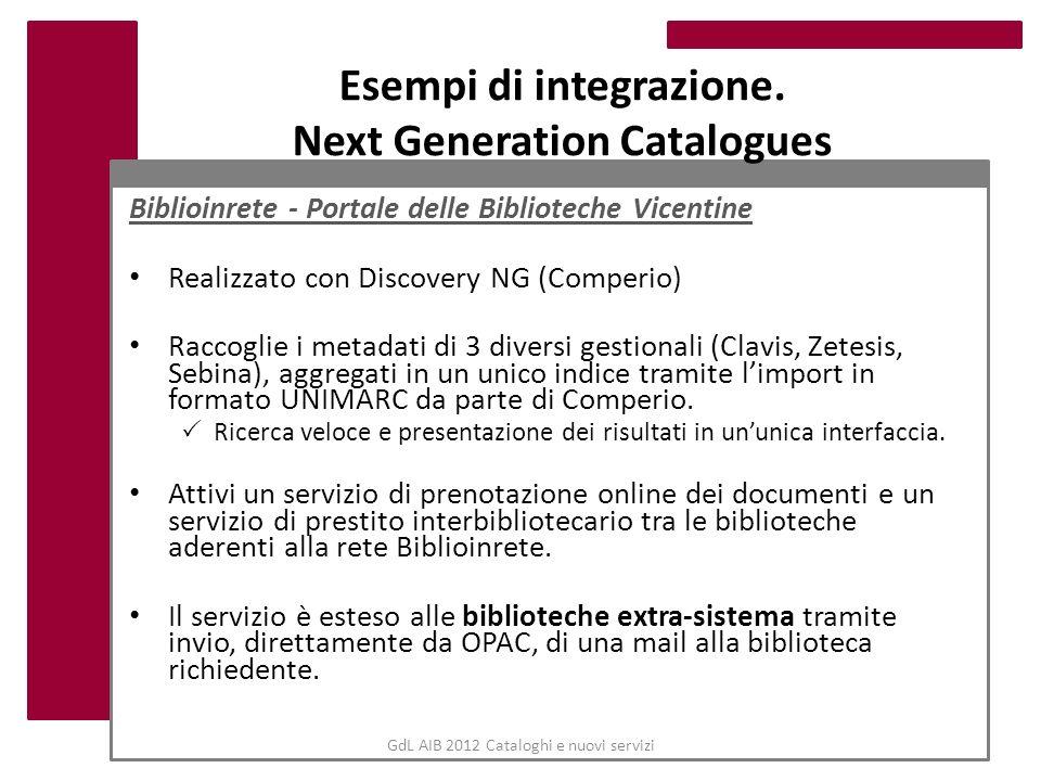 Esempi di integrazione. Next Generation Catalogues