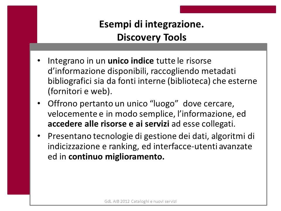 Esempi di integrazione. Discovery Tools