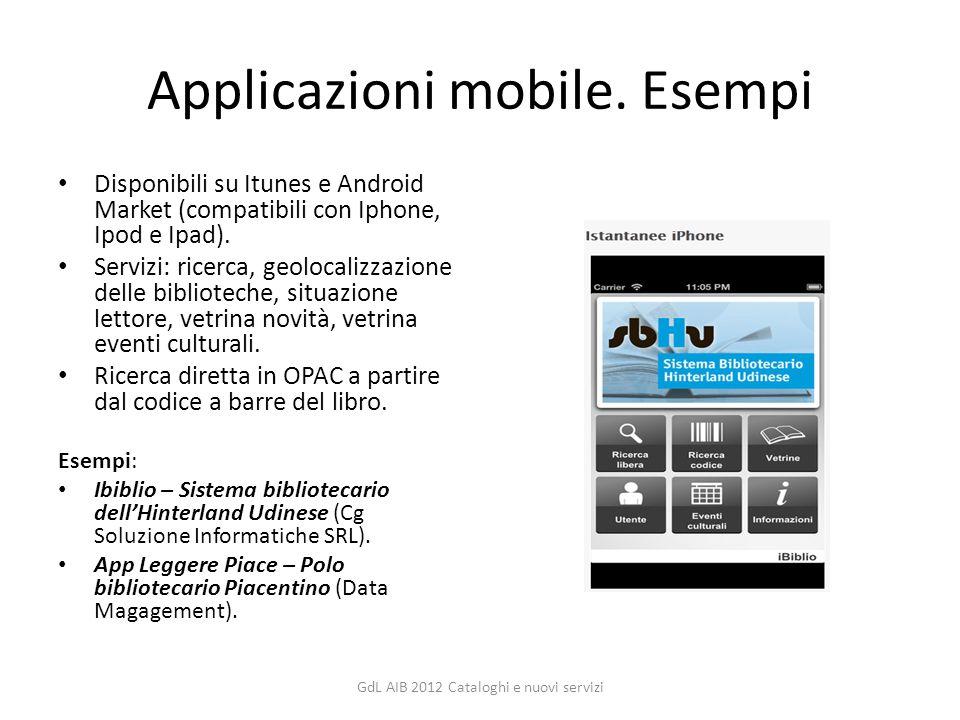 Applicazioni mobile. Esempi