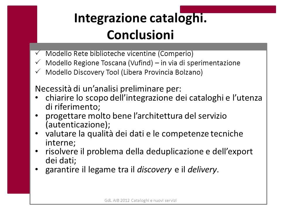 Integrazione cataloghi. Conclusioni