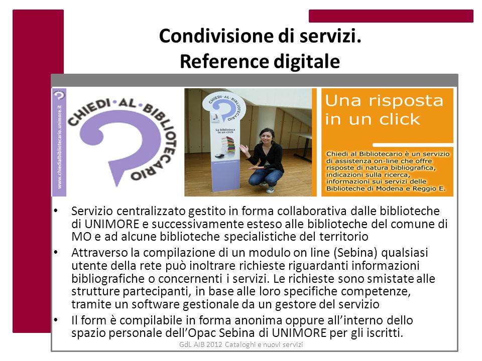 Condivisione di servizi. Reference digitale